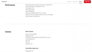 OnePlus 9R's specs page