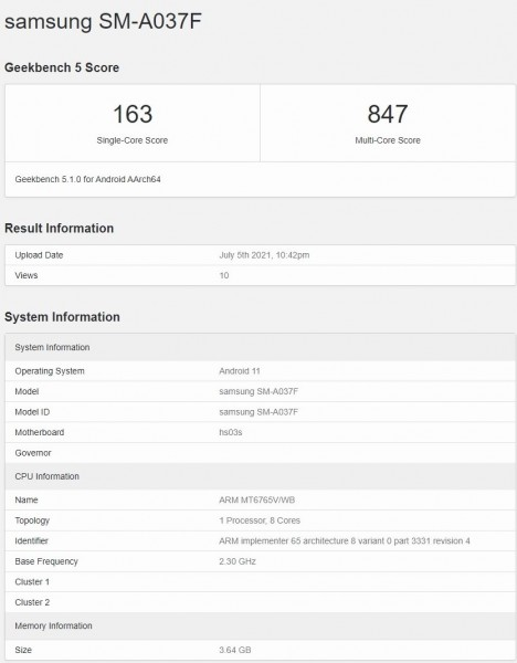 Samsung Galaxy A03s passes through Geekbench