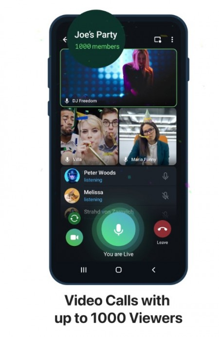 Telegram adds video playback speed, screen sharing with sound, and video calls up to 1000 viewers
