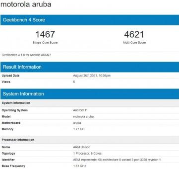 Moto E20 on Geekbench 4