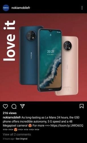 Deleted Nokia G50 5G post on Instagram (via NPU)