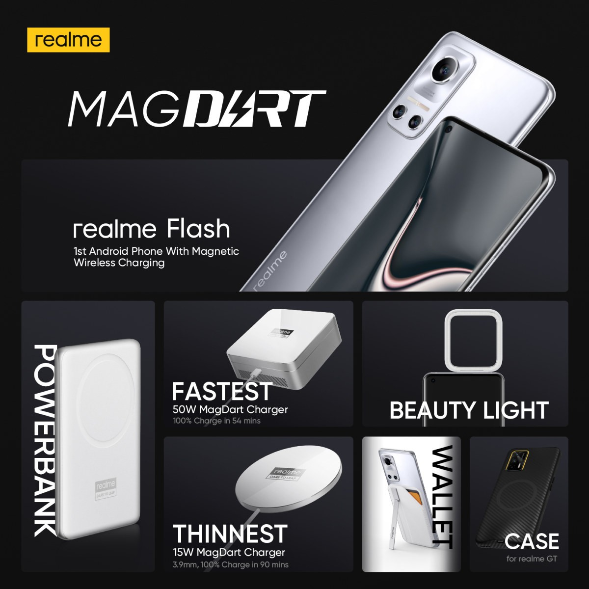 Realme unveils the MagDart ecosystem: 50W and 15W chargers, power bank and more