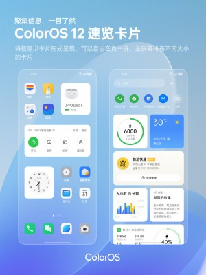 The new Quick Glance cards of ColorOS 12