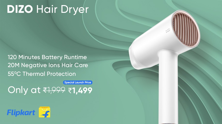 The DIZO Hair Dryer can dry your hair in 5 minutes