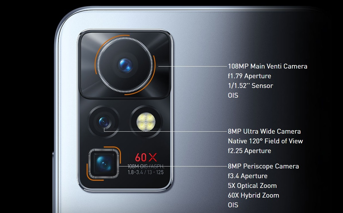 Infinix Zero X Pro camera setup with 108 MP main, 5x periscope and 120º ultra wide