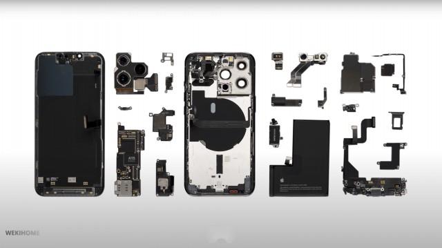 iPhone 13 Pro completamente desmontado (fuente: WekiHome)