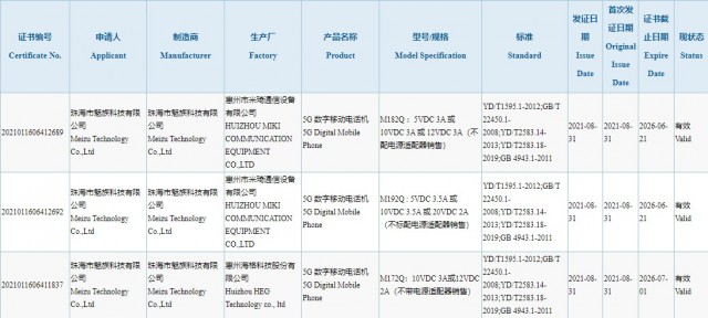 Meizu 18s, 18s Pro and 18x listings on 3C database