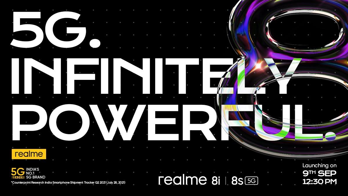 Realme 8s 5G et 8i arrivent le 9 septembre avec les chipsets MediaTek