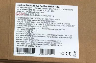 Realme TechLife Air Purifier HEPA Filter's retail box