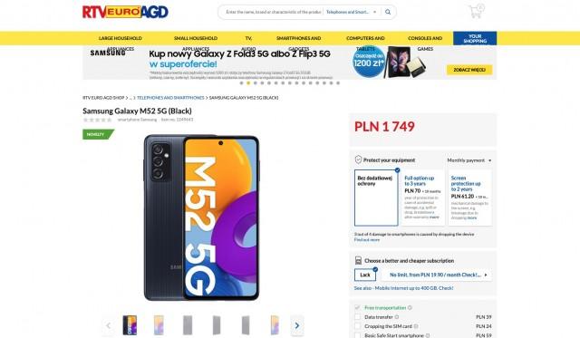 Galaxy M52 5G listing
