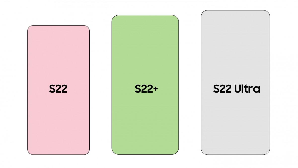 Aquí hay una comparación de tamaño entre la serie Samsung Galaxy S22 y el iPhone 13