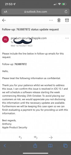Leaked email stating October 25 release for iOS 15.1 (source: @RobertCFO)
