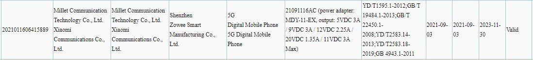 Xiaomi 21091116AC en el 3C con carga de 33W