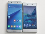 Sony Xperia XZ next to the Galaxy Note7 and the Xperia X Compact - Sony at IFA 2016