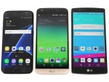 LG G5 flanked by the Galaxy S7 and the LG G4 - LG G5 review