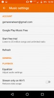 Google Music: settings - Moto Z Droid Edition Review