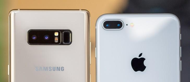 note 8 vs iphone x gsmarena