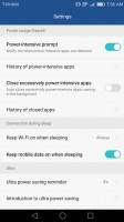 Power settings - Huawei Honor 6x review
