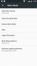 Moto mods toggle and settings menu - Motorola Moto Z2 Play review