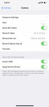 Camera app and its separate settings - Apple iPhone XS Max review