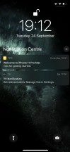 Notification Center - Apple Iphone 11 Pro and Max review