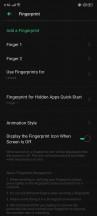 Home screen settings and biometrics menu - Realme X2 Pro review