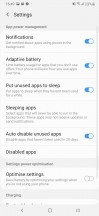 Battery settings - Samsung Galaxy A30 review