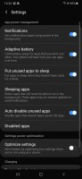 Battery settings - Samsung Galaxy A50 review