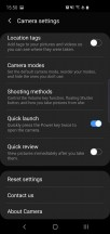 Additional camera settings - Samsung Galaxy S10e review