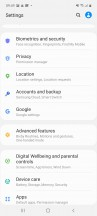 Biometrics - Samsung Galaxy A71 review