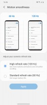 Display settings - Samsung Galaxy S20 review
