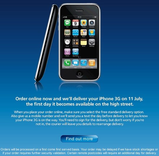 iPhone 3G available for online pre-order