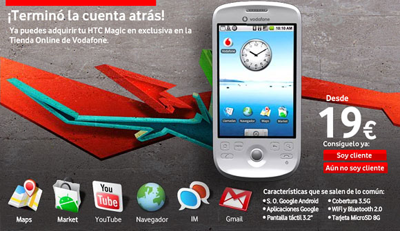 HTC Magic now available on Vodafone Spain