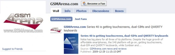 GSMArena.com goes Facebook