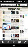 Opera Mini 5 on HTC HD2